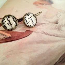 Jane Bennet and Mr. Bingley Antique Bronze Dangling Book Page Earrings